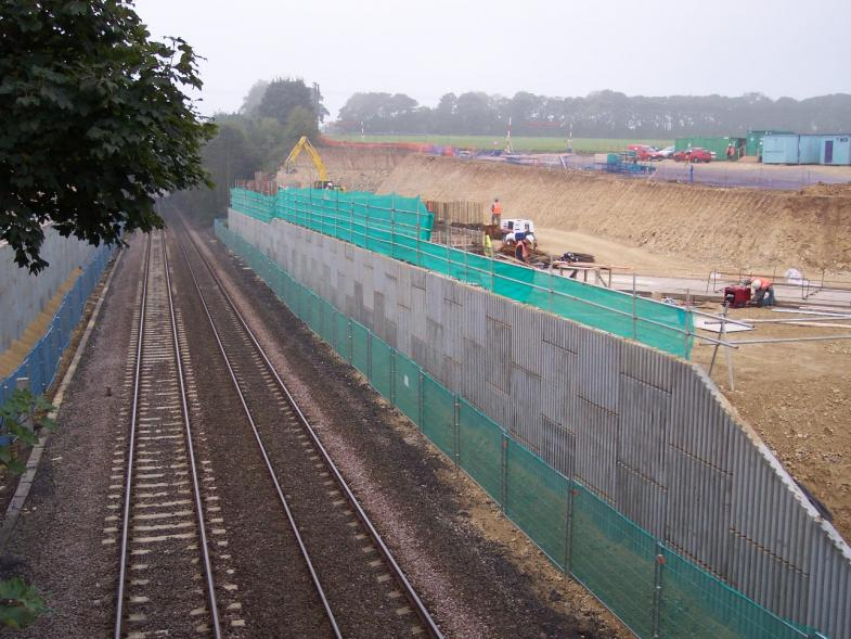 North abutment Reinforced Earth Wall complete steel fixing started on the abutment