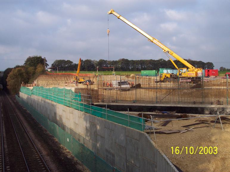 North abutment progressing with back fill up to level for the crane platform.
