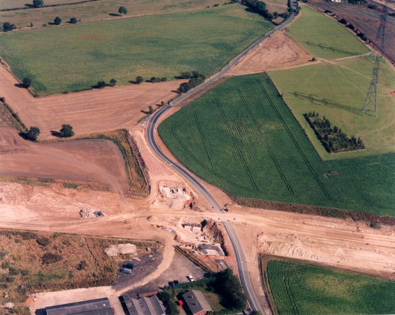 Lunnfield lane with the foundations being constructed