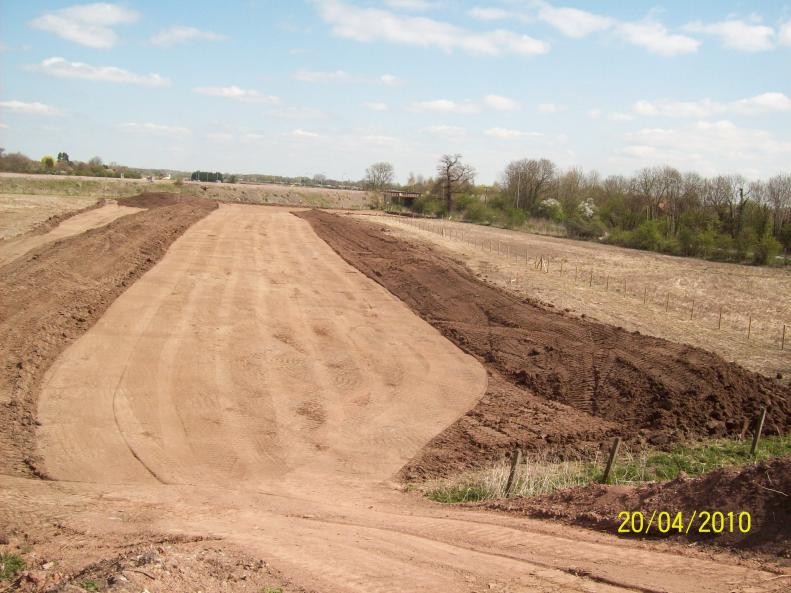 Topsoil strip on the southern side of the embankment.