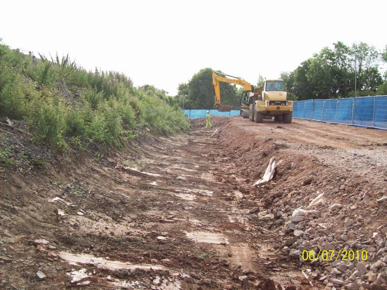 South Abutment - work started to tie into the embankment.