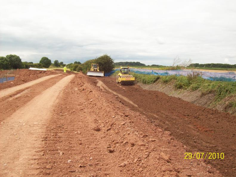 South Embankment being filled next to the existing embankment.