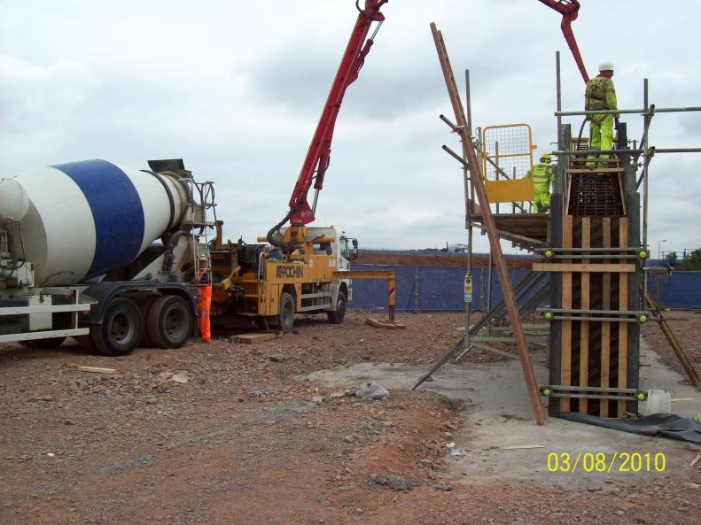 East Abutment Wall being Cast