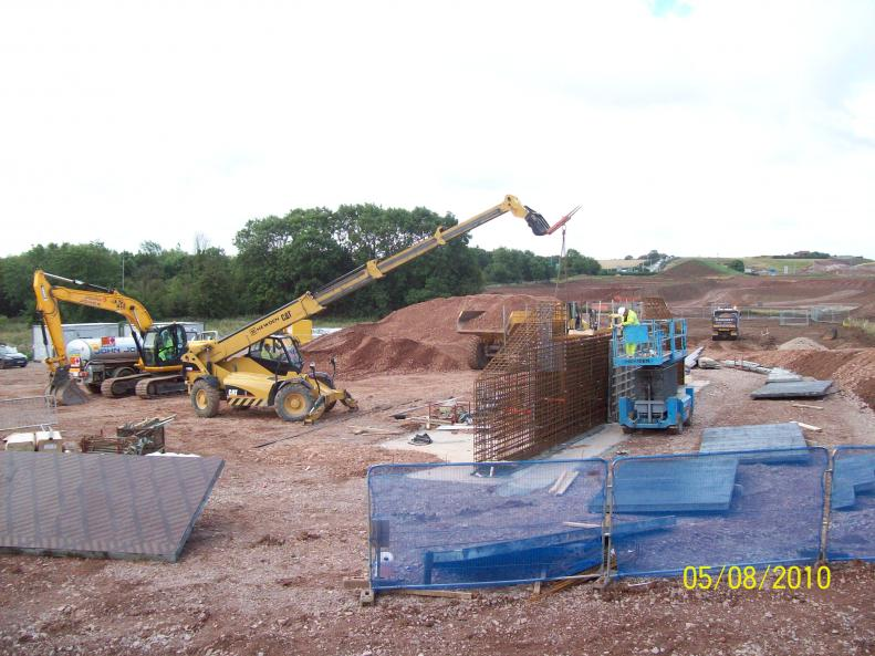 Steel being fixed to the West Abutment