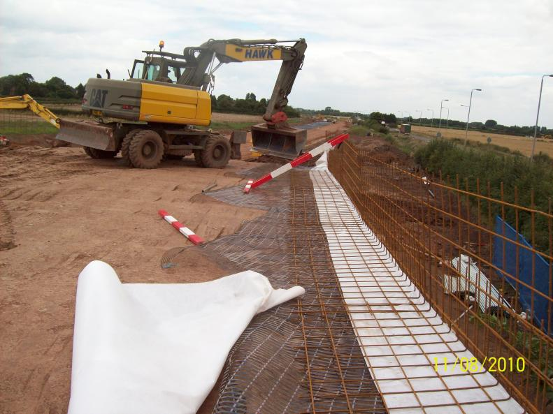 North reinforced earth being constructed