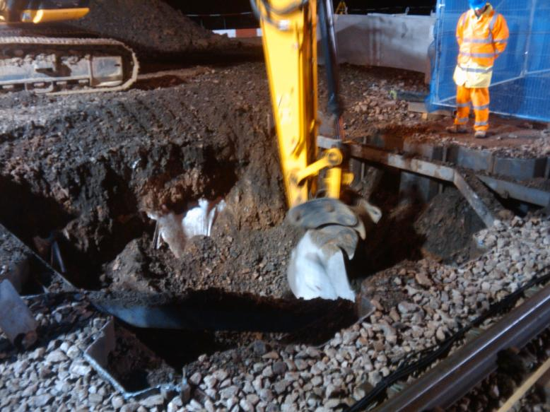 Temporary works being excavated out