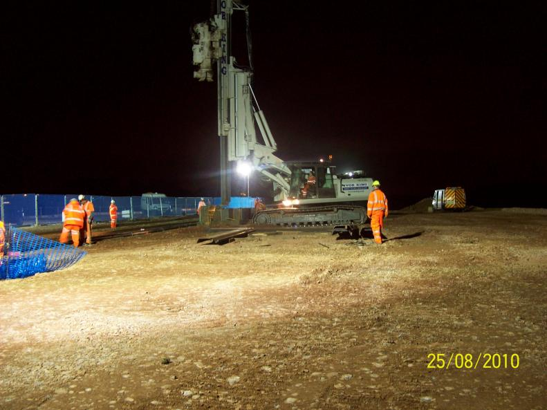 Phase 1 cable move being undertaken - sheet piles bing installed on the North Piling Platform.
