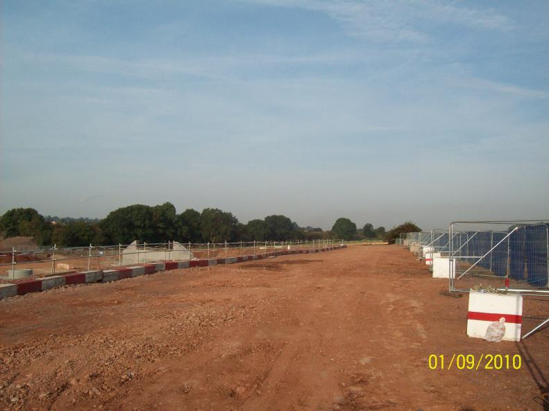 South piling embankment - fences, stop blocks stone rolled flat.