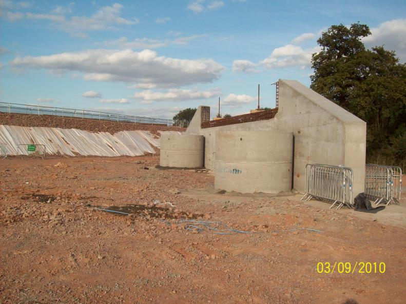 East abutment set up with temporary works manholes put in place.