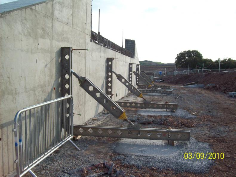 Abutments fitted out with temporary works to prevent them being kncked over.