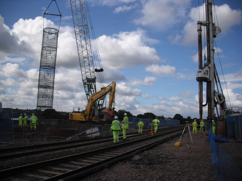 Reinforcement cage being lifted into position on the South Piling Platform
