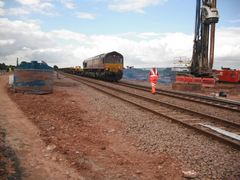Engineering Train Passing through the work site.