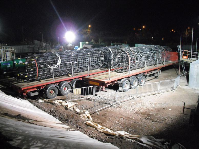 Reinforcement cages delivered ready for lifting into place.