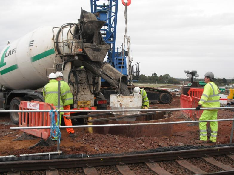 Concrete being placed in the tremie