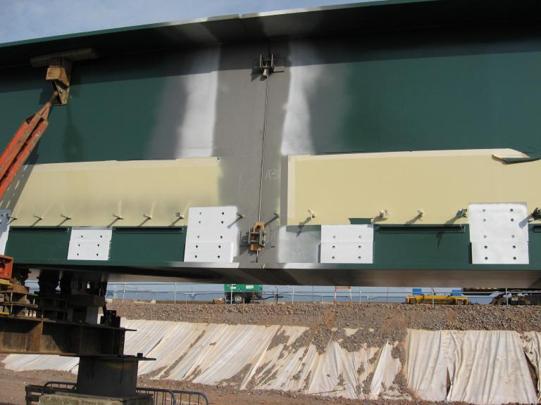 Main Girder joint being connected together for welding.