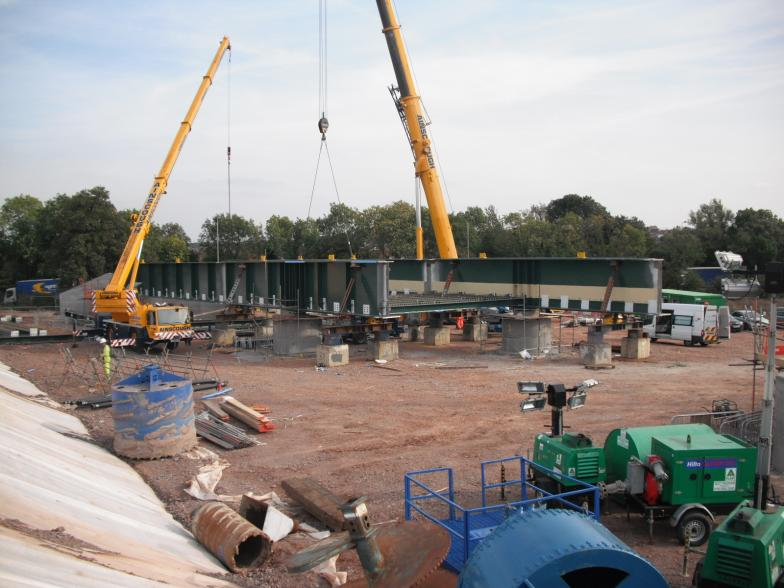 Mabey Bridge lifting in the Main Girders. West side being kept clear for BBGE piling works.