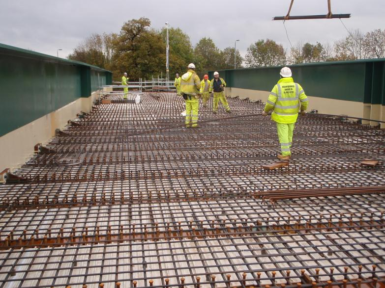 Steel Reinforcement being fixed on the deck by MRC