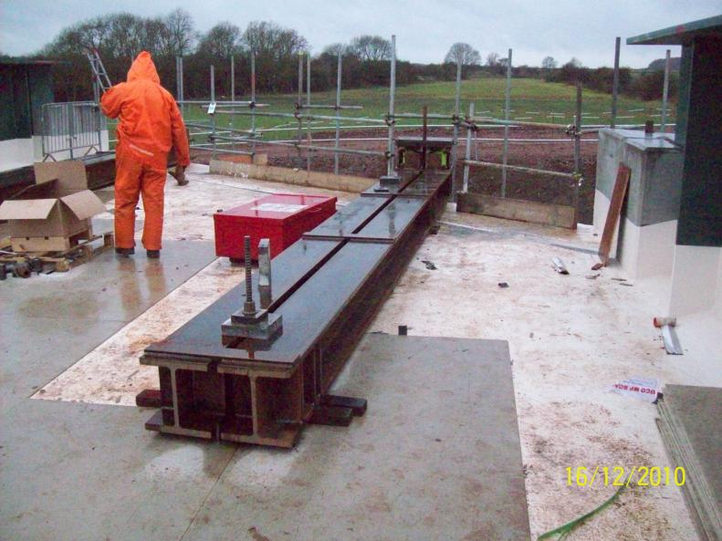 Bridge Beams lifted and fitted out on the bridge deck.