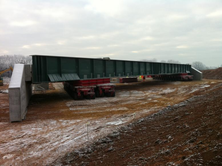 Trial Move - Bridge lifted and moved forward.
