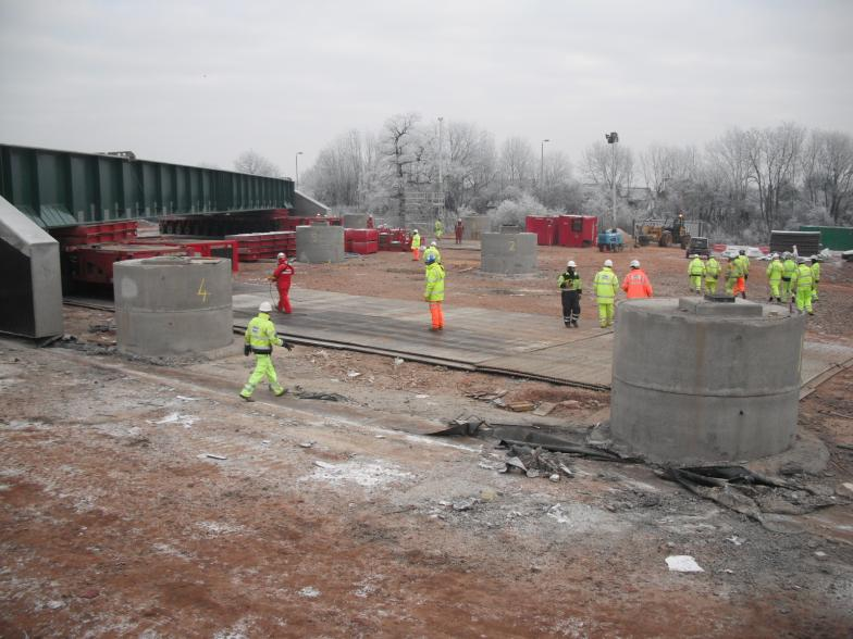 Bridge lifted and moved forward to enable the temporary works to be pulled out of the way.