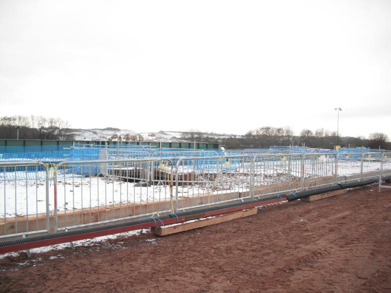 Cable protecion works fencing and lights all set up ready before the main possession.