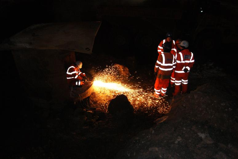 Ivor King - cutting the tag cuts on the main pile casings.