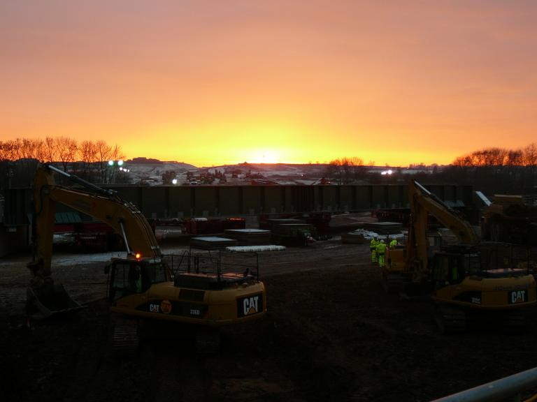 Sun going down on the site as the works progress.