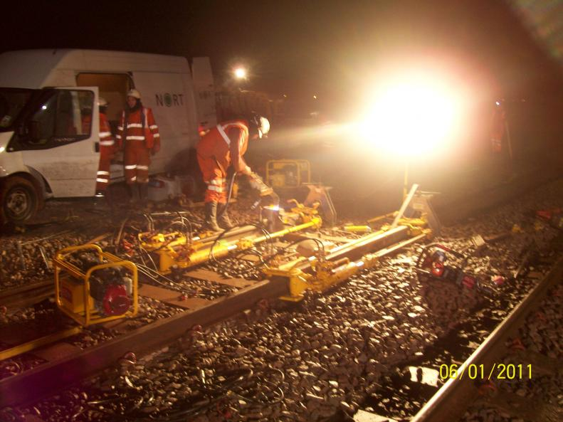 BB Rail carrying out the Stressing of the track.