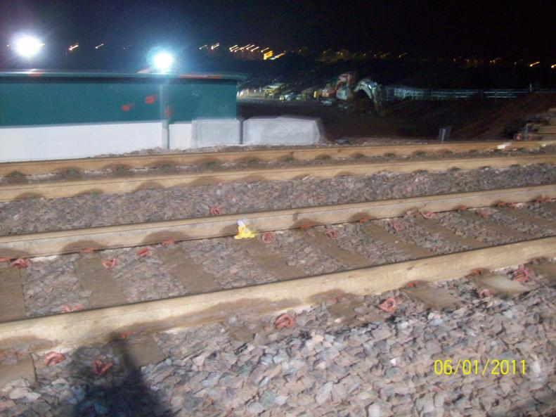 Track unclipped to enable the stressing to pull the rails.