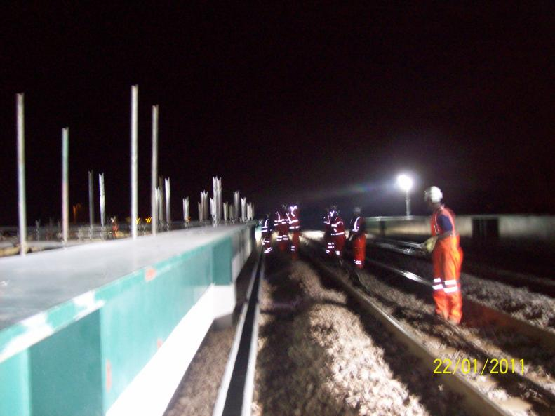 Cables being shifted and sorted to allow them to be put into the new route