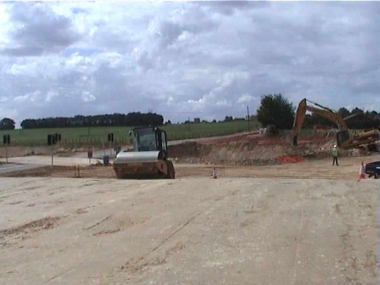 Old road being excavated and abutments formed