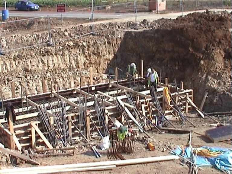 Central Pier base formwork being set up.