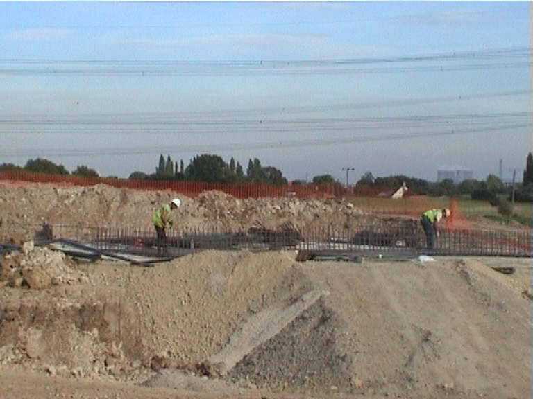 Steel being fixed to the East abutment base
