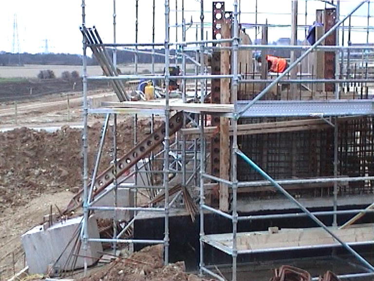 West Abutment formwork being set up for casting.