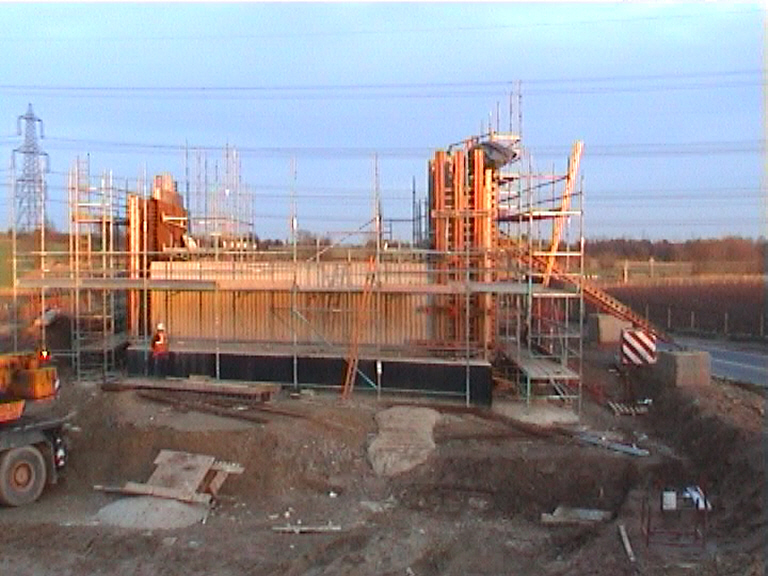 Wingwall formwork set up for casting on the East Abutment.