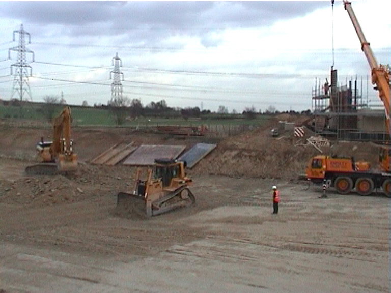 Build area being levelled and prepared for beams