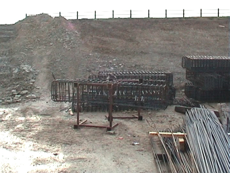 Steel reinforcement papapet cages being prefabricated
