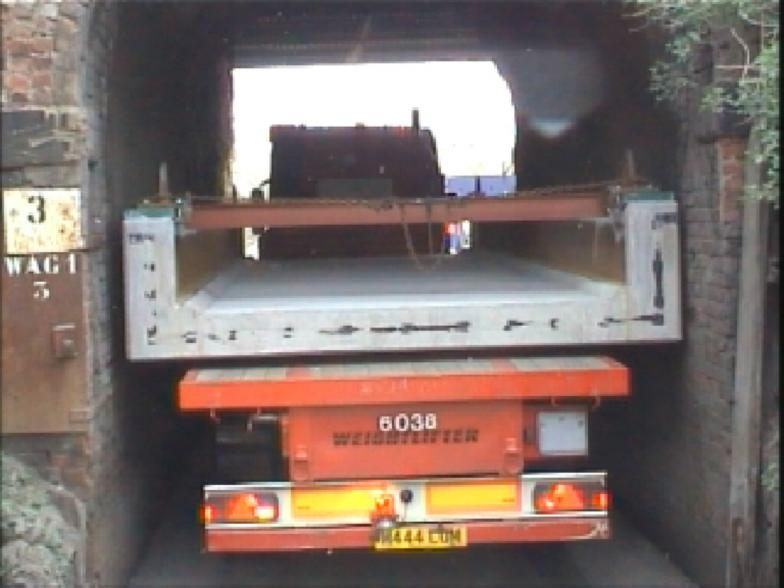 Bridge being delivered to site (50mm either side of the deck).