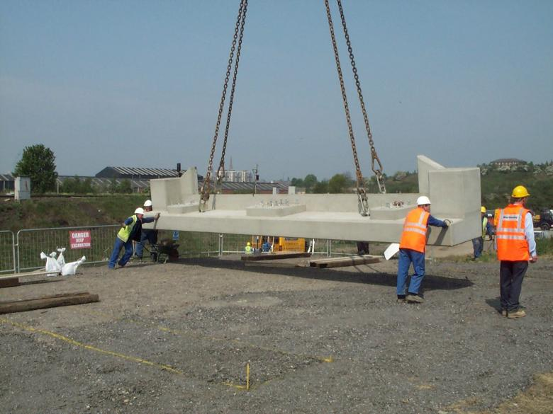Bridge units being laid out for trial erection.