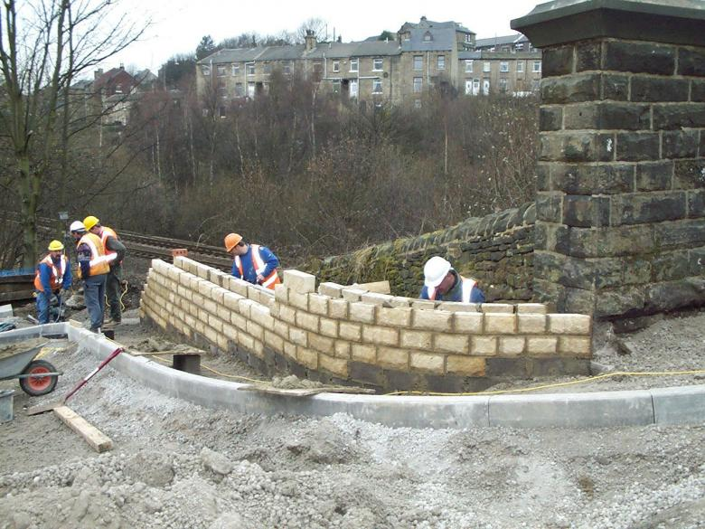Wall being constructed on the South Abutment.