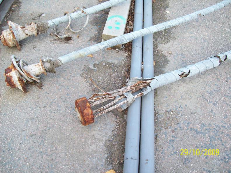 Damaged Post tension anchorage extracted from the central span.