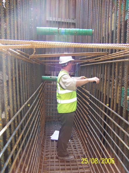 South Abutment steel reinforcement being inspected.
