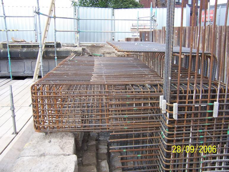 North Abutment reinforcement fixed and set up for formwork.