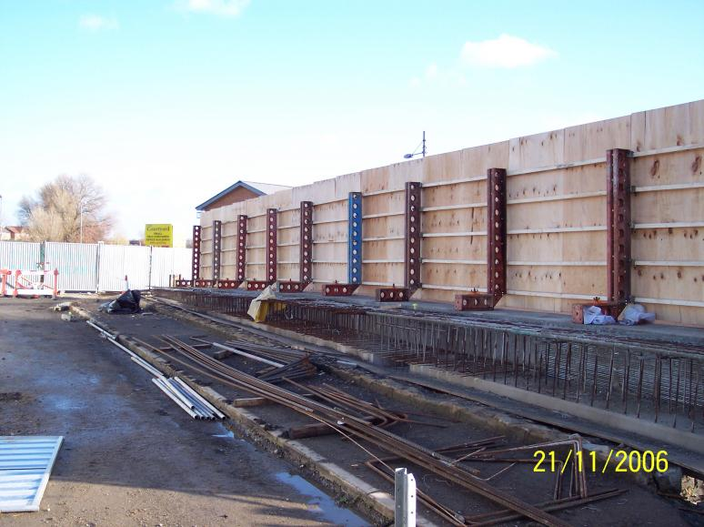 Hoarding erected - looking toward stop end and the existing parapet.