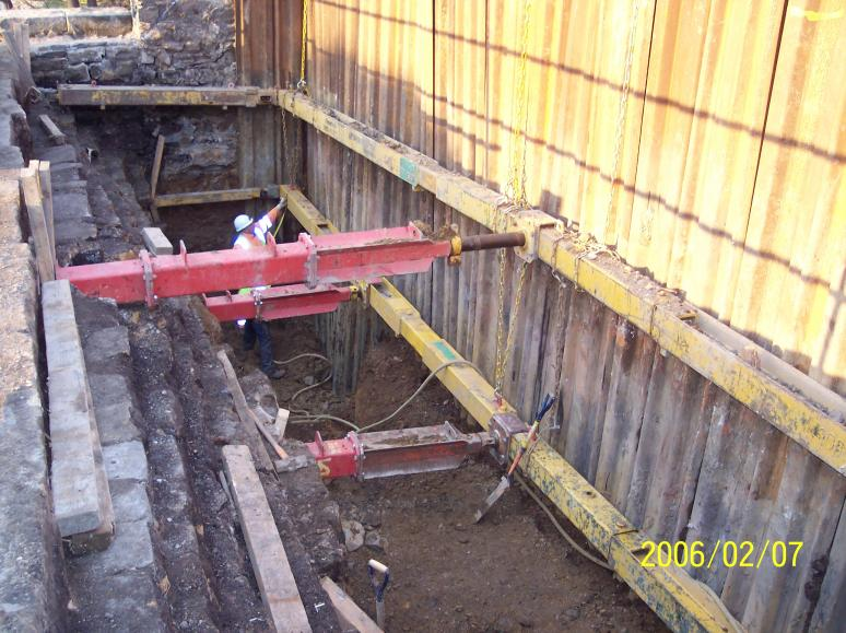 North Abutment sheet piles and frames being installed.