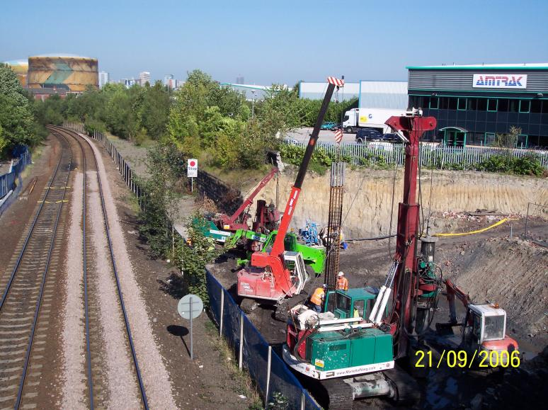 North abutment piling being undertaken