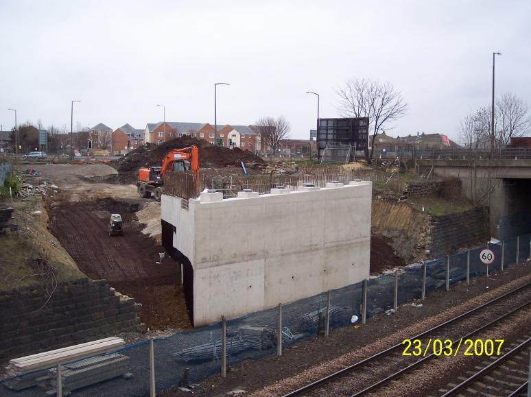 North Abutment Bearings Set and  Scaffold removed