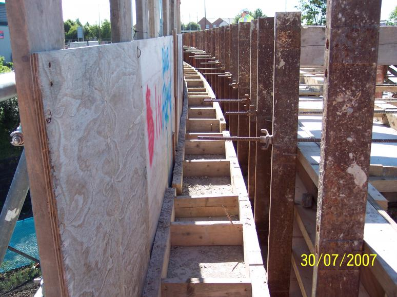 Parapet formwork set up - loads designed to transfer into the multiform