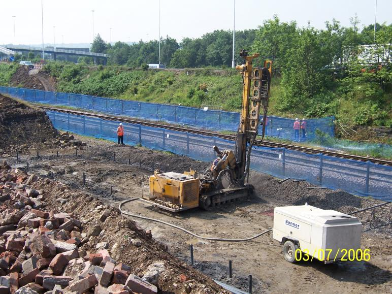 North Abutment drilling and grouting on going with Fence being installed.