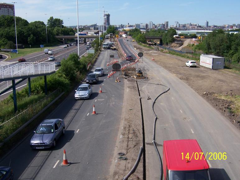 View up Moor Road with the Gas main diversion and road diverisons in place